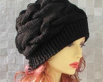 Parisian style, Winter Hat Kniited Beanie Hat, Knit Hat for Women Knit Hats Women, Black
