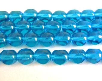 8mm Triangle Round Blue Czech Beads Glass Aqua 3 Cut Round 25pcs
