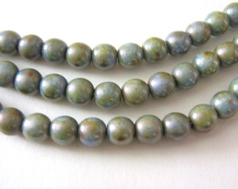 6mm Round Green Blue Czech Glass Beads Olivine Picasso Druk 30pcs