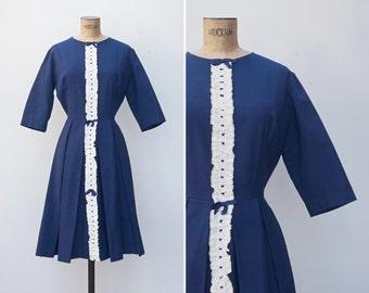 1960s Dress - Vintage Navy White Pleated Dress - Carla Dress