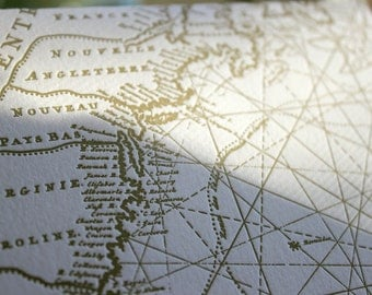 Letterpress Card set with French Maritime Map detail