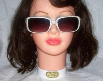 "Vintage Playboy Sunglasses- ""Sammy"" - 36622  - White with Pink Rhinestones"
