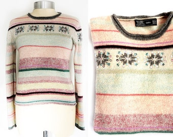 Vintage Winter Wool Sweater,Snowflake Sweater Women's Small-Medium Size, Zara Wool Pullover,Embroidered Beaded sweater.