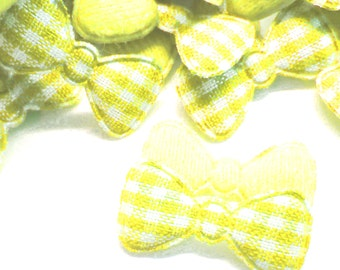 "100pcs x 7/8"" Yellow Gingham Cotton Bow Padded/Appliques"