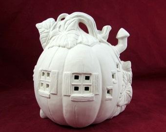 Ready to Paint Pumpkin House -7 inches - hand made, Halloween, candles
