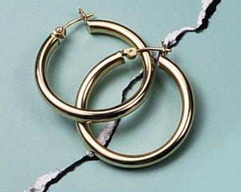 Solid 14k Hoop Earrings, 14k Yellow Gold Hoops, Solid 14k Tube Hoop Earrings, Gold Hoops, 14K Yellow Gold Hoops,