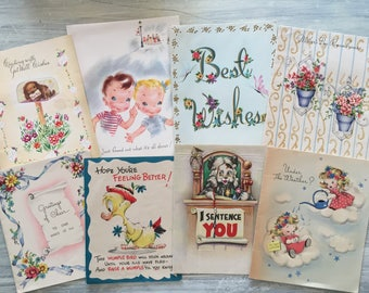 Vintage 1940s Card Set, Antique Ephemera Lot, Bundle Mixed Greeting Cards, Christmas, Get Well, Easter, Mother & Father Day, Congratulation