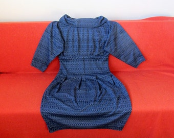 New, handmade, vintage inspired 60s style knit dress, rolled collar, 3 4 sleeves, blue. Autumn, fall winter, for her. Size L / XL