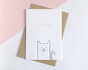 You're Purrfect – Letterpress Valentine Card