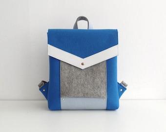 Blue Gray White Felt Leather Backpack