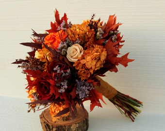 Autumn Champagne, Plum Wine & Burnt Orange Bridal Bouquet, Preserved Rose and Hydrangea Wedding Bouquet, Dried Flower Fall Brides Bouquet,