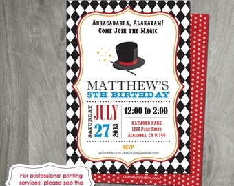Magic Party Birthday Invitation, Digital File, Magic Show, Party Printable, Magic Hat, Magician