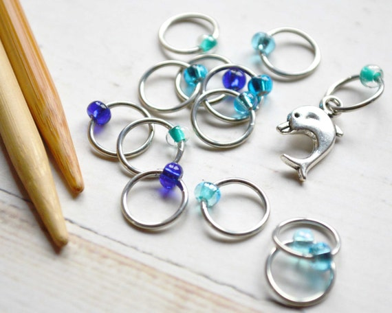 Playful Dolphin / Knitting Stitch Marker Set / Snag Free / Small Medium Large Sizes Available
