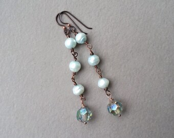 Elegant Dangle Earrings, Trending Jewelry, Boho Chic, Aqua Blue, Pearl And Crystal, Niobium Ear Wires, Rustic Mixed Metal, Beaded Earrings