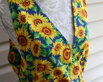 Vintage Sunflower Dress Jumper Handmade Summer Garden Nature Grunge Jumpsuit Blue Green Yellow Print Large