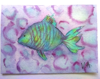 Fish aceo, ocean aceo, sea aceo, miniature painting, watercolor aceo, artists trading card, original aceo, hand painted aceo, handmade aceo