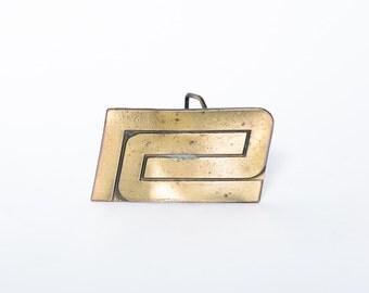 Brass Belt Buckle 1970s C. Lewis Buckle Co. USA