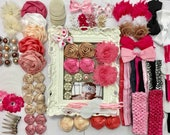 32 DIY Baby Pink, Cream, and Black Headband Kit, DIY Headband Kit, Baby Shower Kit