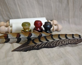Writing Kit with Wrapped Pheasant Quill, blank scroll, and 3 historic inks