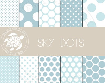 Coastal Nautical Digital Paper Set with Sky Blue Polka Dots - Personal and Commercial Use CP007