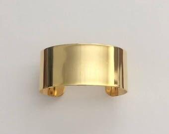 """1 Gold Cuff, 1 1/8"""" wide, Wide Cuff, Bracelet, Bangle"""