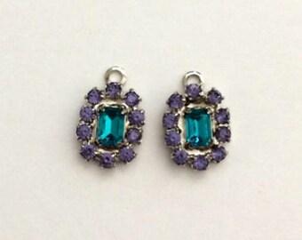 Swarovski Crystal Charms, Tanzanite, Blue Zircon, Swarovski Beads, Crystal Charms, 13x10 mm