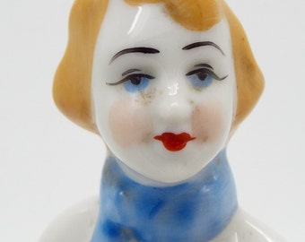 Collectable Russian Ceramic Seated Skater Lady Figure Hand Painted
