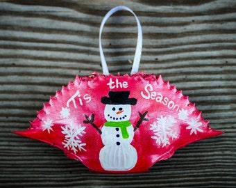 Painted Snowman Ornament, Painted Snowman, Christmas Ornament, Crab Shell Ornament