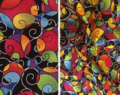 Vintage fabric by the yard   Destash colorful abstract swirl print cotton (price is PER YARD)