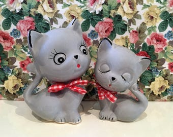 Vintage Pair of Kitty Cats Kitsch Cute China Ornaments Kawaii
