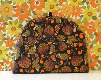 Retro Linen Tea Cosy Orange and Brown Floral Campervan Kitsch