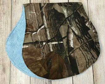 Blue Hunting Camo Burp Cloth