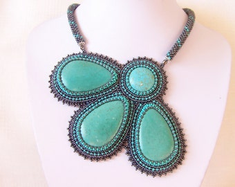 Statement Beadwork Bead Embroidery Pendant Necklace with Turquoise - TURQUOISE FLOWER - grey hematite - turquoise