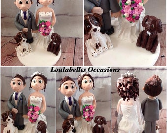 Personalised Wedding Cake Topper with Two Dogs