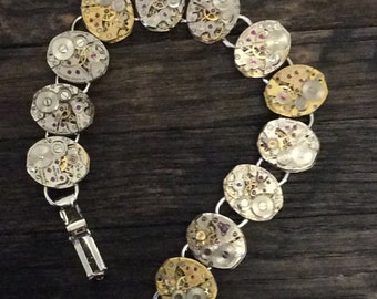 Steampunk Watch Movement Bracelet Reserved for Erica