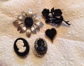 Black Brooch Collection Destash Goth Jewelry Goldtone Silvertone Vintage Pins Cameos Flowers Sarah Heart Mourning Lot