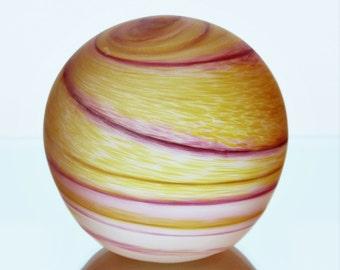 Jupiter Planet Orange & Red Swirl Pattern Blown Glass Paperweight Ornament