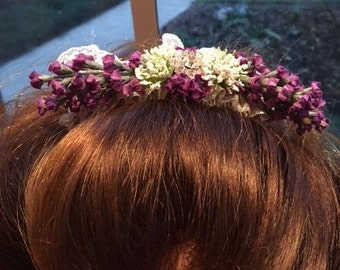 Bridal Comb Handmade With Lavender Flowers And White Lace