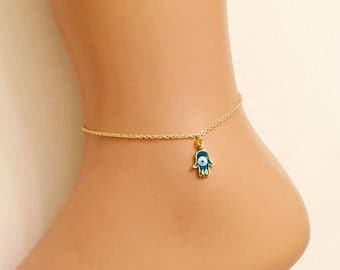 Hamsa Hand Anklet, Gold Plated Anklet, Evil Eye Hamsa Hand Anklet, Fatma's Hand, Boho Anklet, Body Jewelry, Foot Jewelry, Gift for Kids