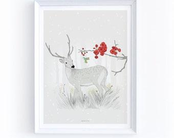 """Art Print - """"Deer and Honeybird"""""""