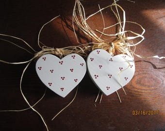 Set if Six Wooden Heart Ornaments