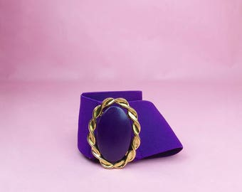 VTG 80s Over Sized Purple Waist Belt With Brooch Closure L, XL, Retro, Glam