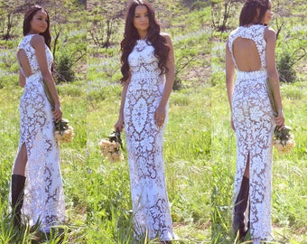 Vintage Sheer Scalloped Lace Back Cut Out Hippie Boho Bohemian WEDDING Maxi Dress Gown