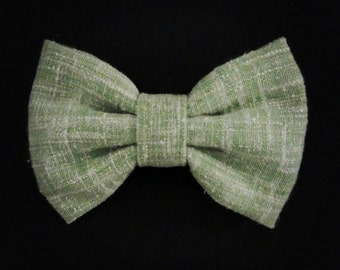 Pale Green Tweed Bow