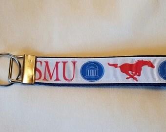 Handcrafted NCAA Southern Methodist University SMU Mustangs Key Chain Wristlet   NEW