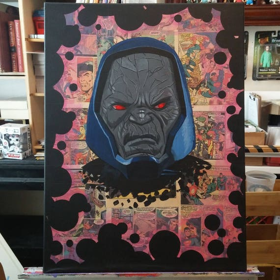 Darkseid Painting over Real Godzilla Comic Pages - Original Art