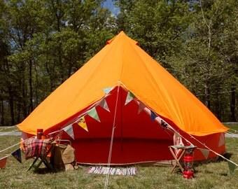 ORANGE USED Canvas Bell Tent - Vintage Style - Glamping - Festival - Tipi - Yurt - Boho - Hipster - Yoga - Camping - Farm - Wedding
