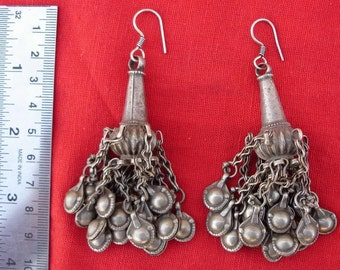 Antique Bellydance Tribal Old Silver Earring Dangle India