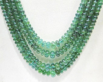 4 strand natural Emerald Stone Beads Necklace