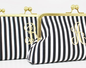 Monogrammed/Personalized Black and White Stripe Clutch -  Bridesmaid Clutch - Wedding Clutch - Choice of Colors